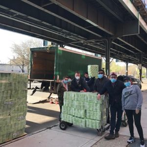 Unloading Truck of Care Package Supplies